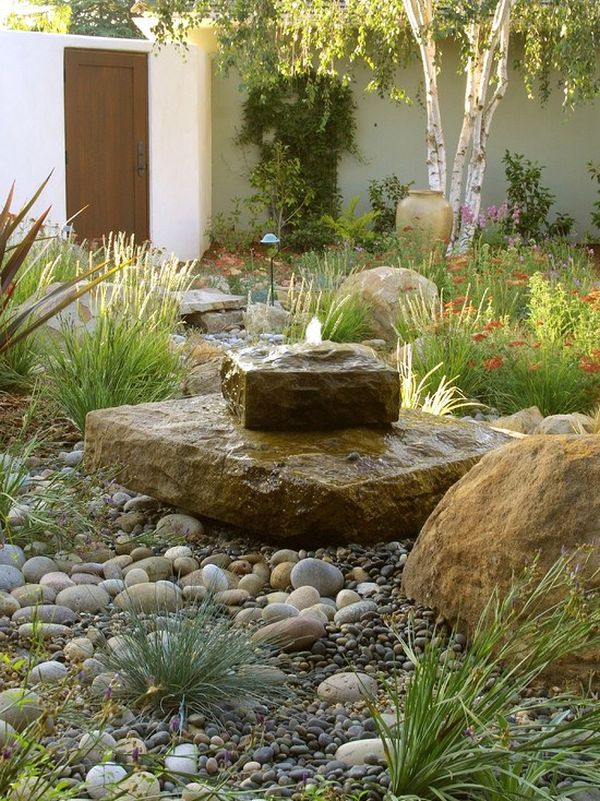 Attrayant Nice Backyard Decoration Ideas With Water Fountains Also Plants And Grasses