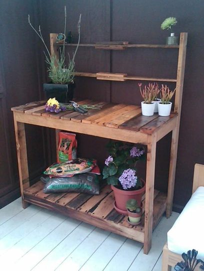 Opulent Concept Of Wooden Porch Bench For PLacing Small Plants
