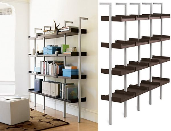 Opulent Design of Wall Mounted Bookcase Using Dark Rack and Metal Legs