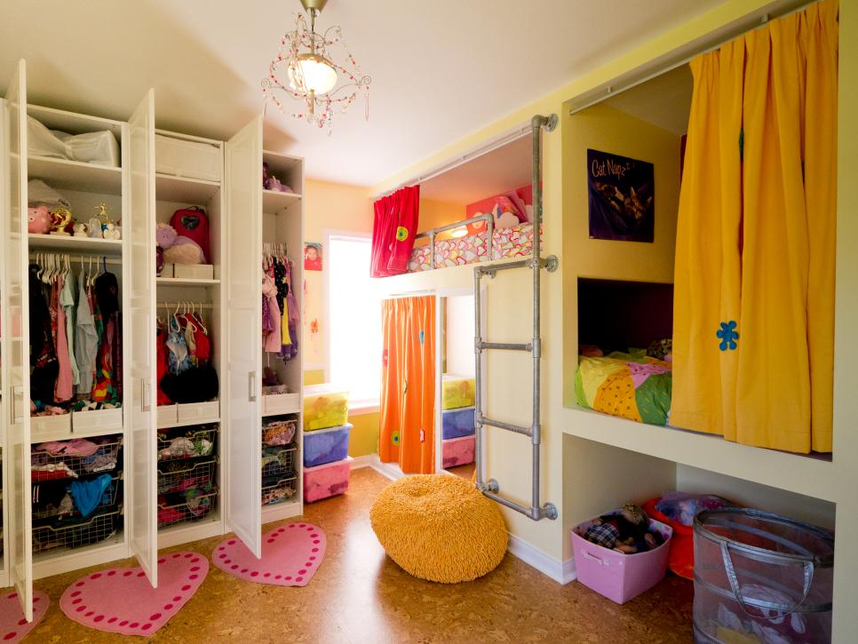 Opulent Girl Room With Bunk Beds also Lush Closet and Chandelier