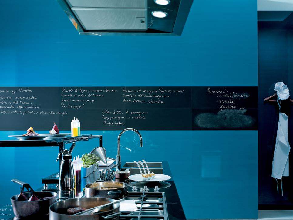 Opulent Kitchen With Light Blue and Black Wall also Modern Cabinet