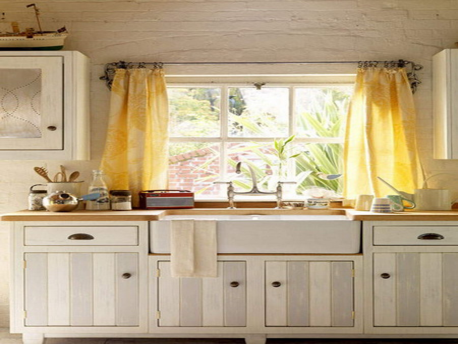 Opulent Kitchen With White Cabinet also Yellow Window Curtain Decor