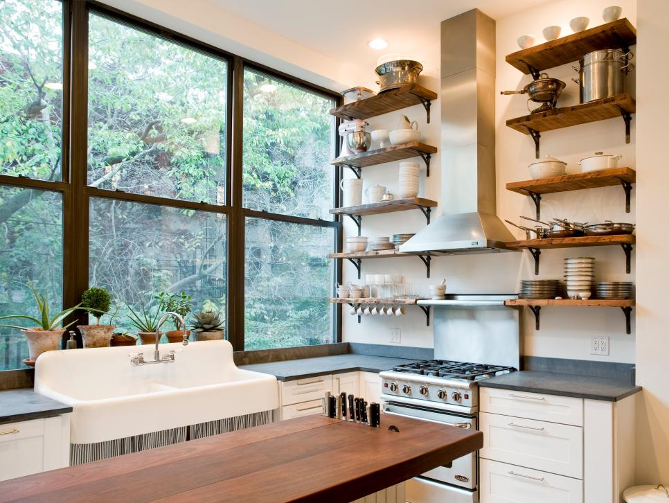 Opulent Mounted Shelves Plus Cacinet To Decorate Spacious Kitchen