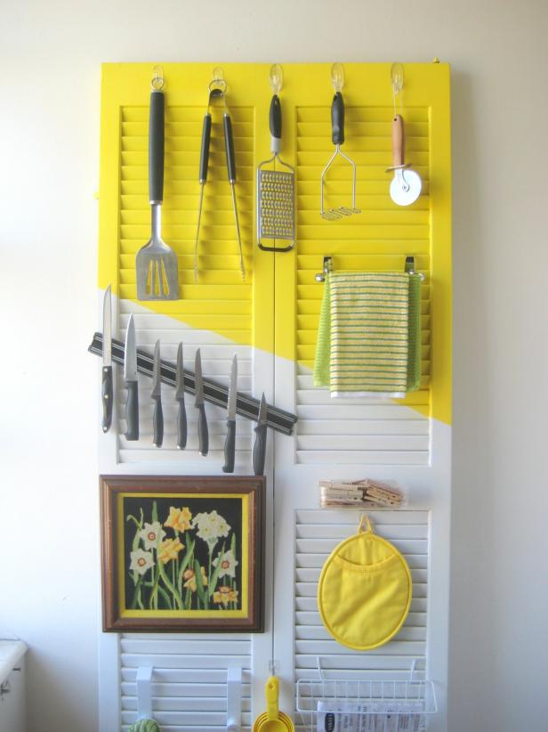 Outstanding Door Storage With Hook also Magnetic Knive above Painting