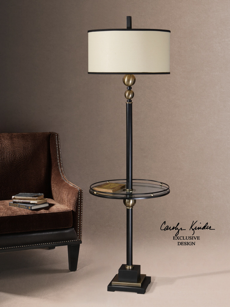 Outstanding Floor Lamp Using White Drum Shade also Dark Metal Pipe