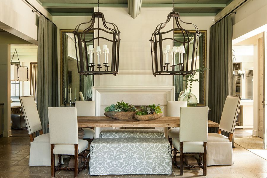 Outstanding Furniture For Dining Room Using Big Chandelier also Table Set