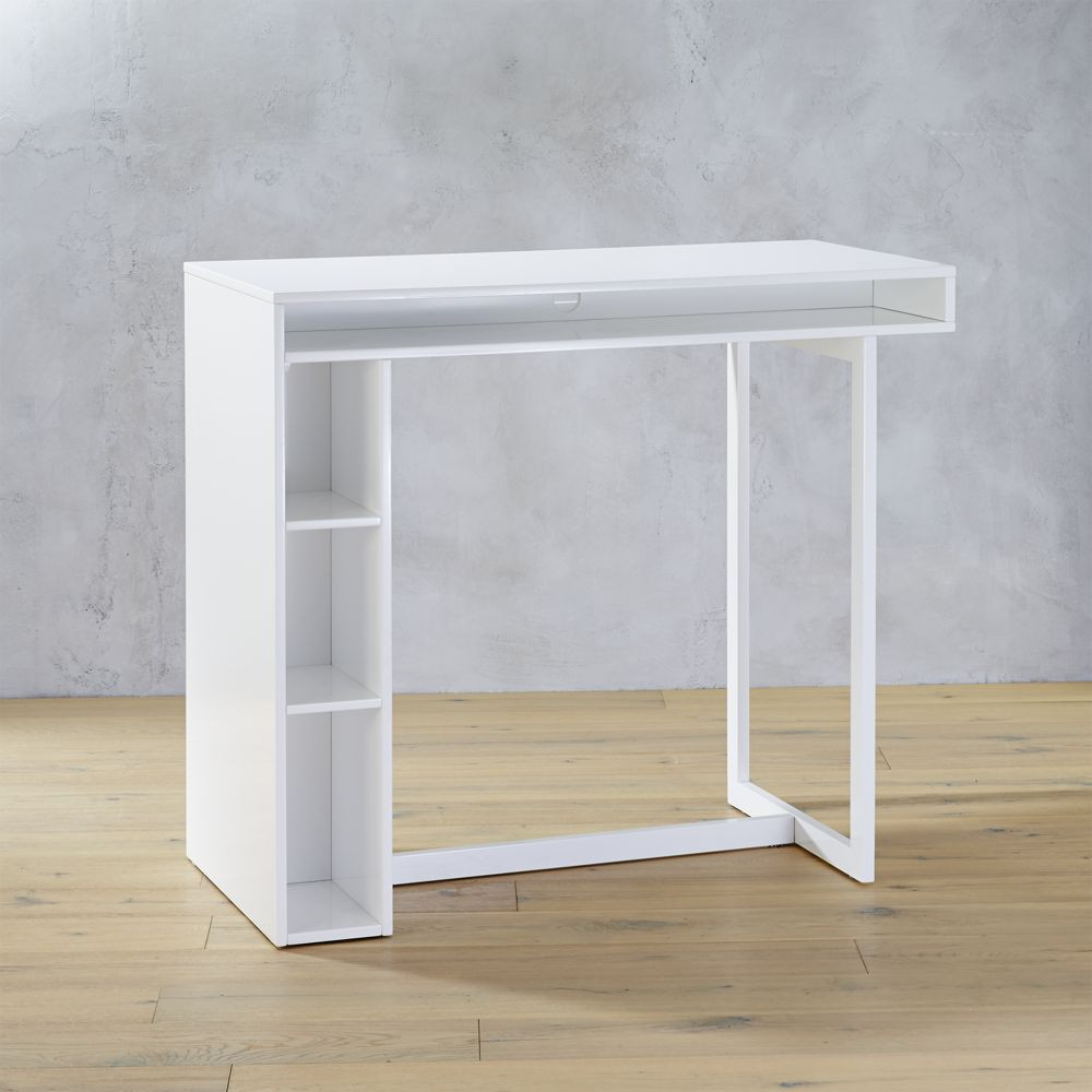 Peerfect Desk Design Ideas With Three Racks Using Strong Legs