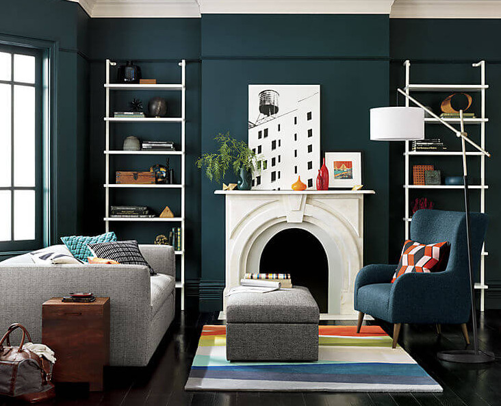 Perfect Family Room Decor Using Wall Mounted Bookcase Near Fireplace also Chair