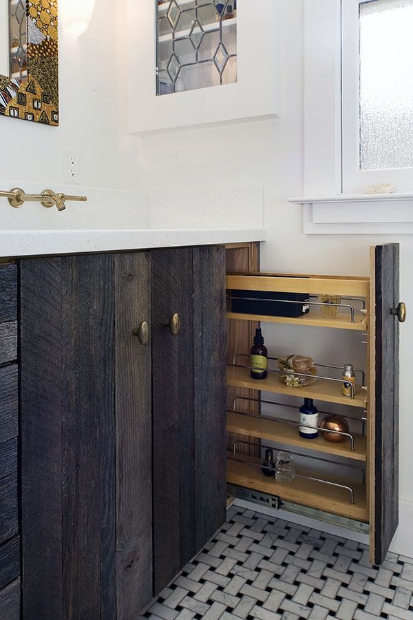 Perfect Wooden Cabinet With Shiny Sink and Gold Faucet