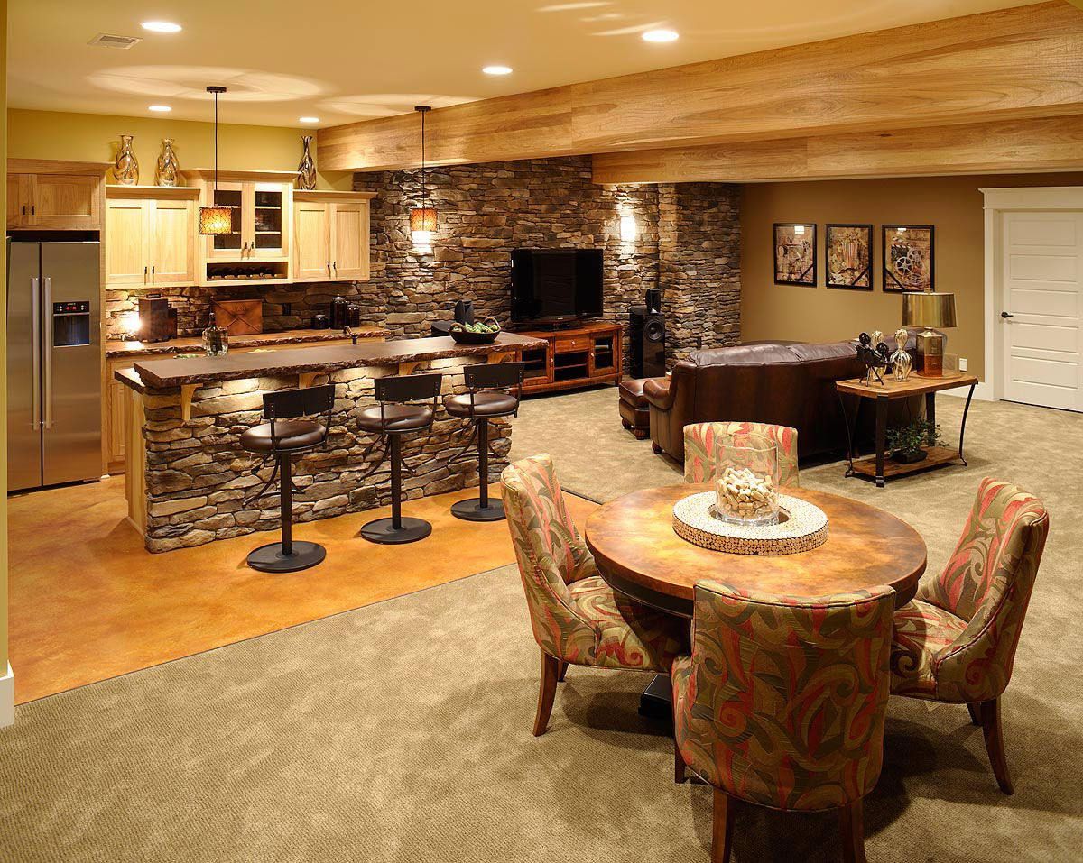 Pleasant Basement Home Bar Designs With Dining Table and Chair