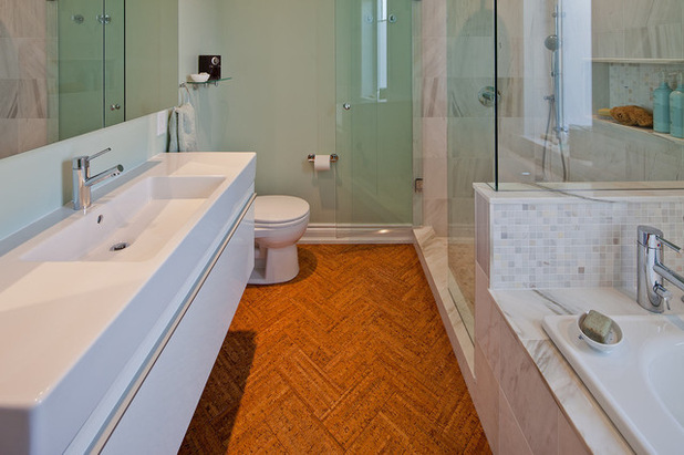 Pleasant Bathroom Flooring With Brown Wooden Panel Plus Modern Cabinet