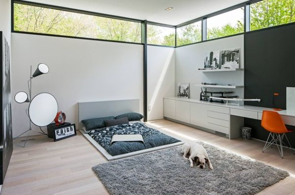 Pleasant Bedroom With Bed and Carpet also Study Table Set Decor