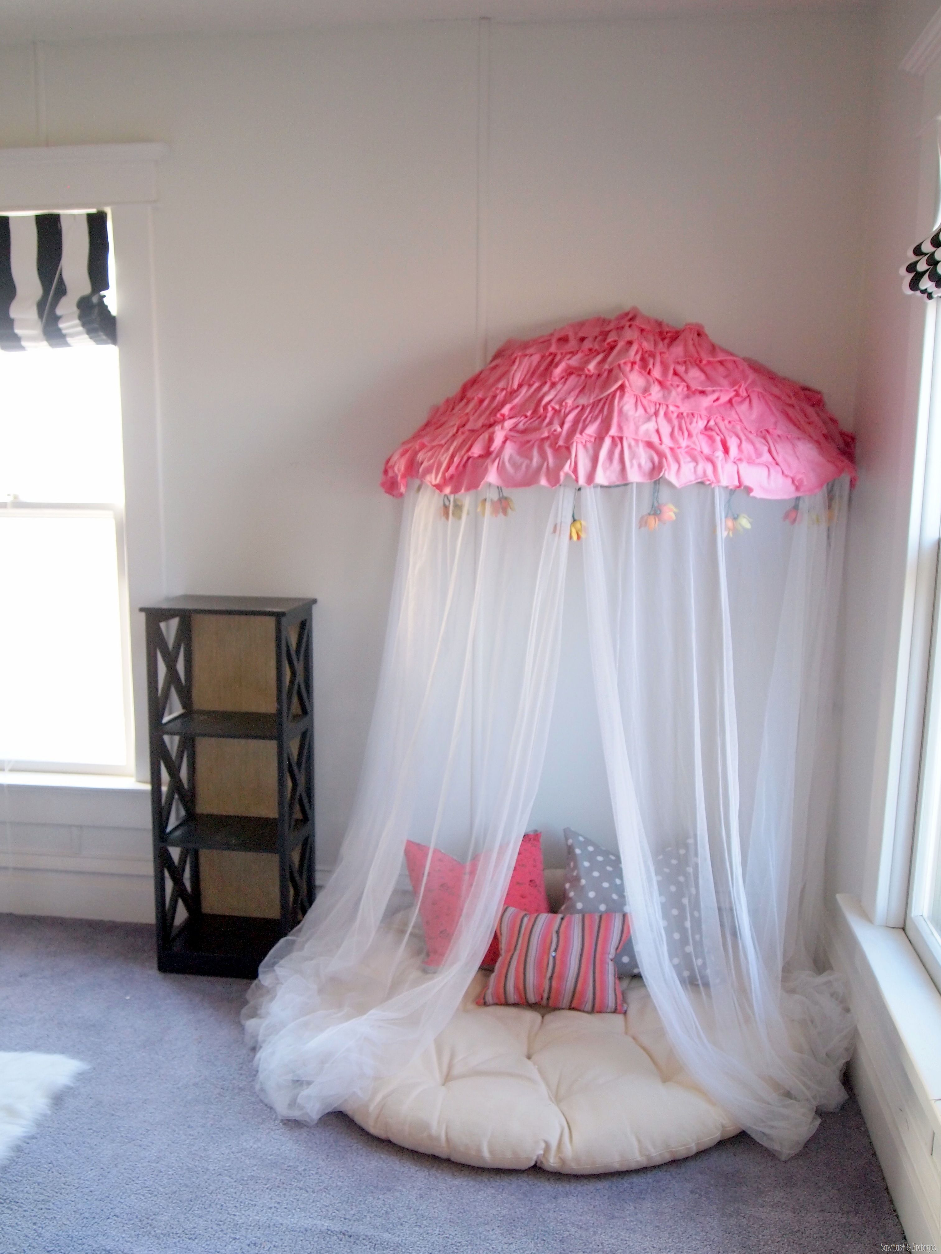 Pleasant Bedroom With Reading Nook Using Mosquito Net Near Window