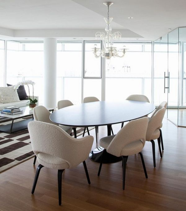 Pleasant Chandelier also Round Table and White Chairs For Decorating Dining Room