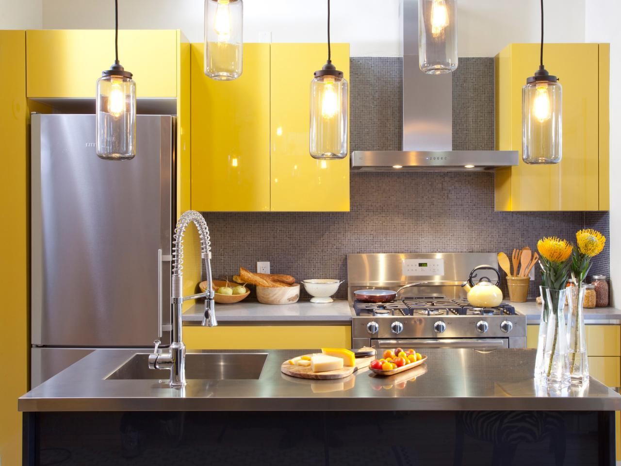 Pleasant Interior Kitchen Cabinets Colors With Yellow Accent also Glass Pendant Lighting