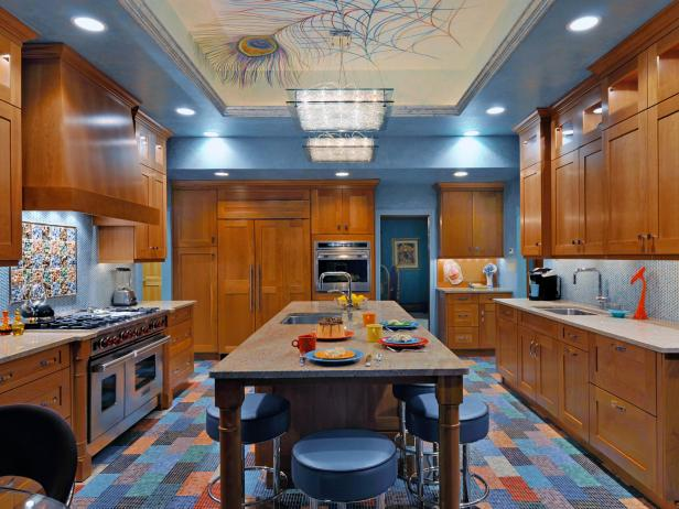 Gentil Pleasant Kitchen Using Light Blue Paint Also Bright Lighting Fixture