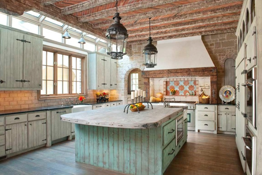 Pleasant Kitchen With Rustic Interior Of Flooring also Cabinet and Beam