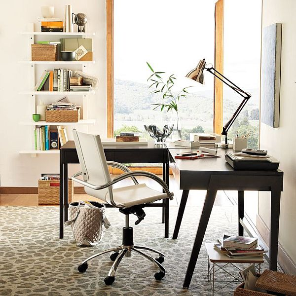 Pleasant Office Room With Desk and Chair also Wall Bookshelve