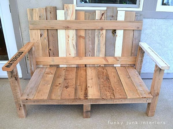 Pleasant Wooden Front Porch Bench Design Using Simple Handle Arm