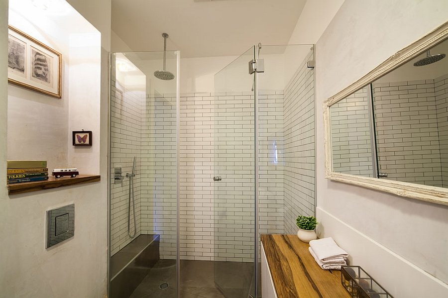 Pleasing Bathroom With Visible Shower Area For Small Apartment Design