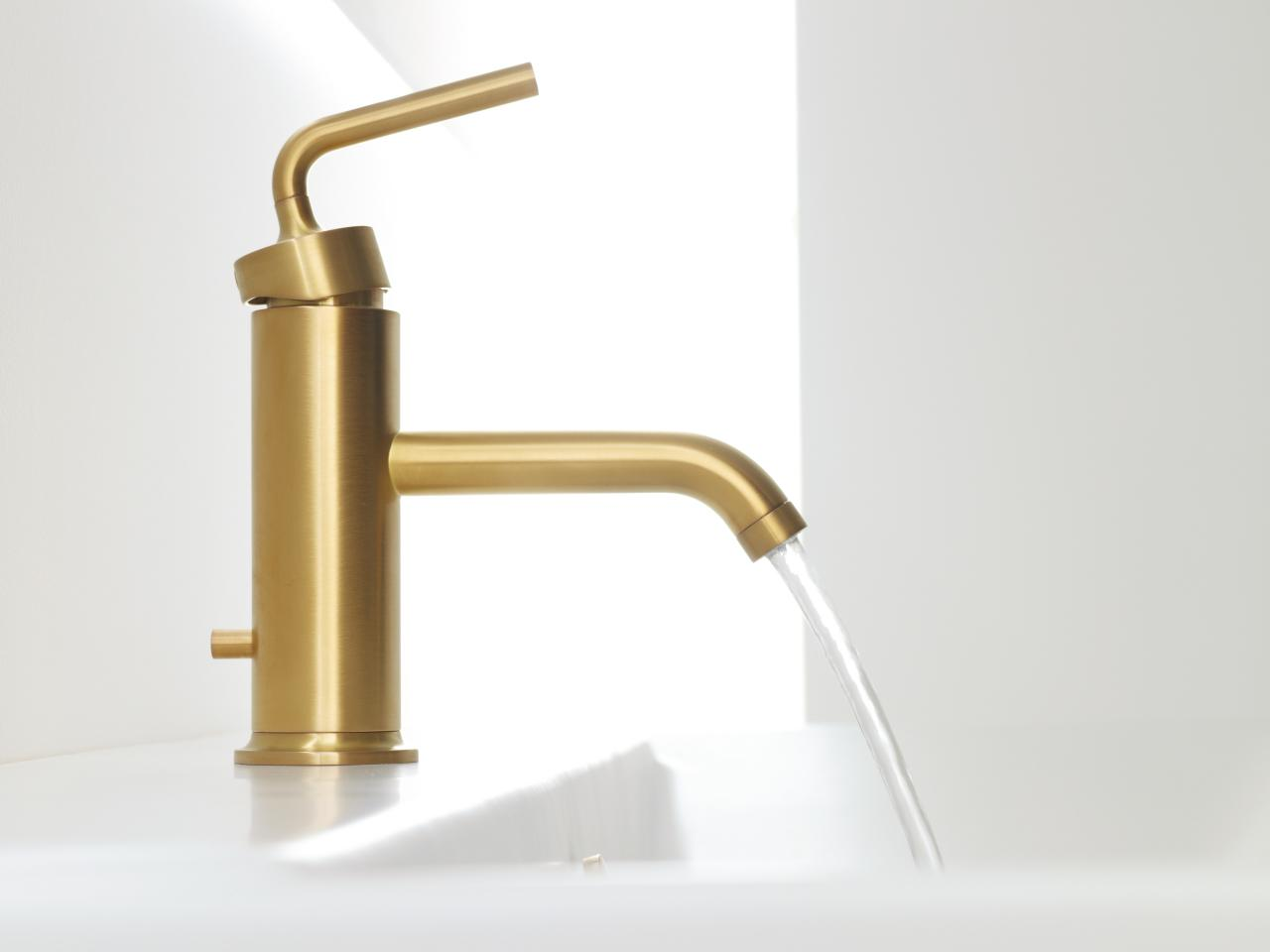 Pleasing Design of Golden Stainless Steel Modern Bathroom Faucets Idea