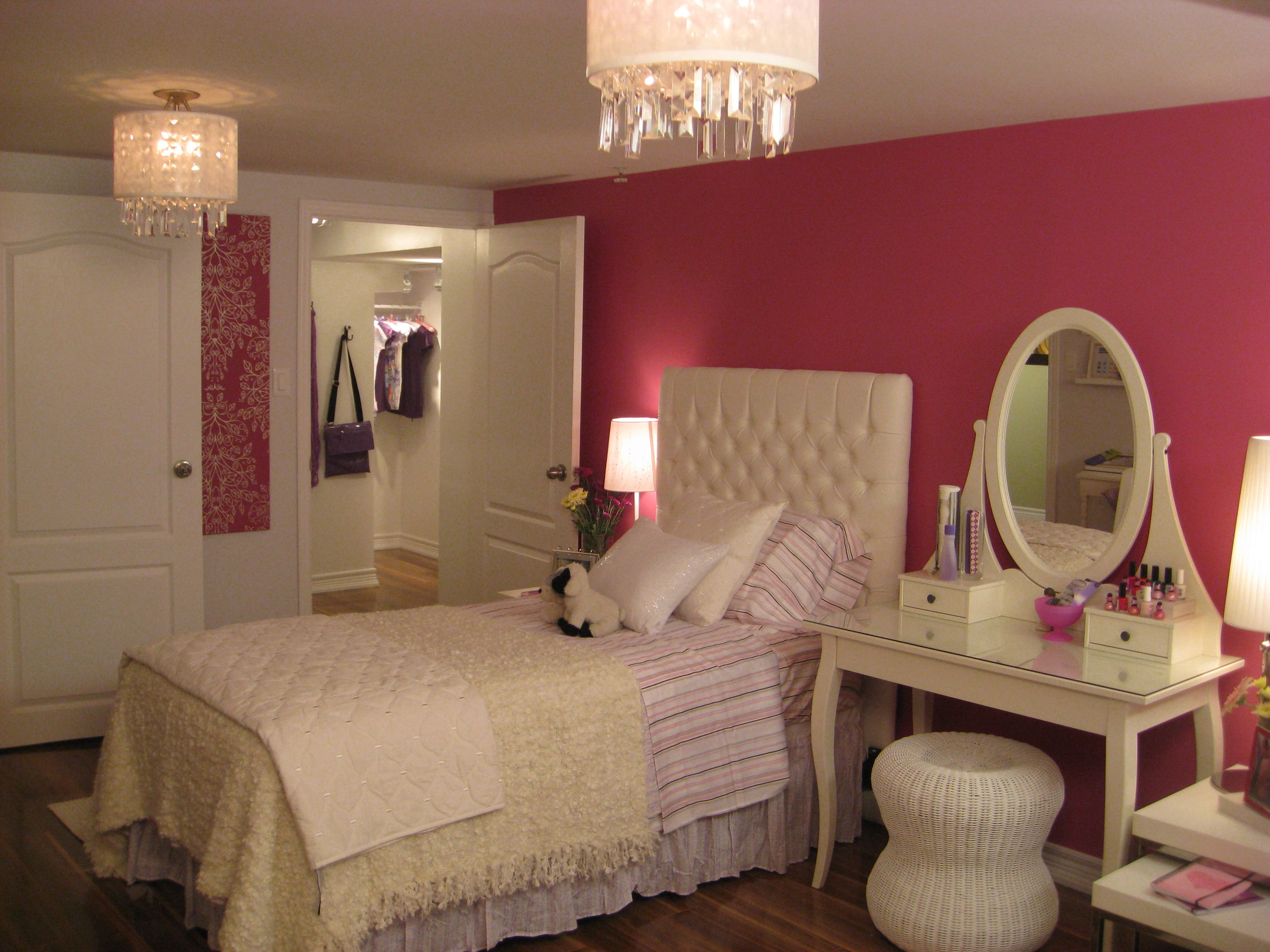 Pretty Bedroom Decor Using Chandelier Also Cute Bed Beside Table