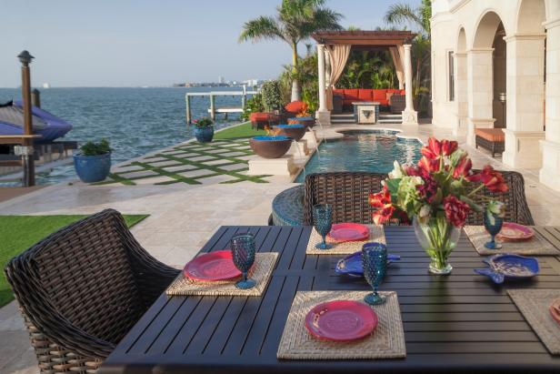Radiant Deck With Beautiful Beach Scenery also Modern Dining Table Set