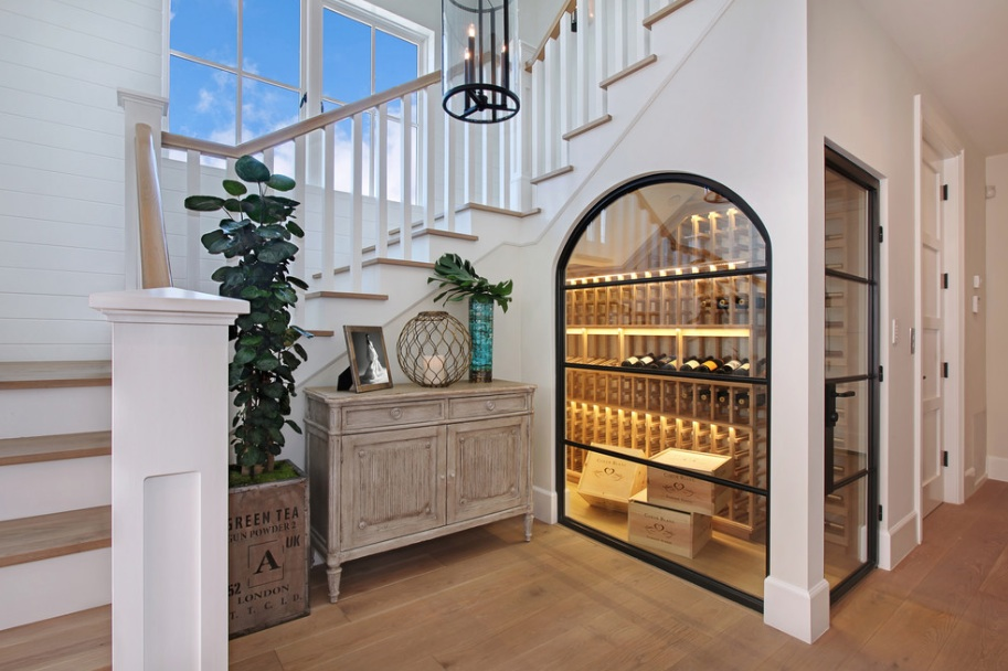 Radiant Hallway Using Attractive Wine Storage With Visible Glass Door And Rack