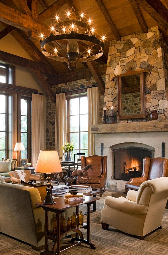 Ravishing Stone Fireplace Mantel also Lush Chandelier FOr Modern Rustic Decor