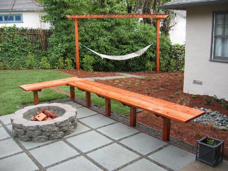 Remarkable Japanese Garden  with Wood Chair front Round Fire Pit