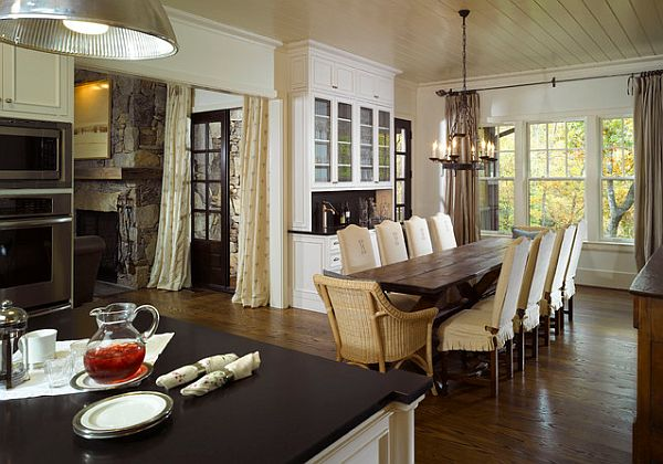 Rustic Dining Table also Nice Chairs Plus Chandelier For Dining Space