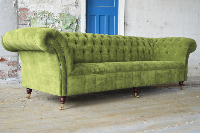 Rustic Interior Room Decor Using Green Sofa With Tufted Back