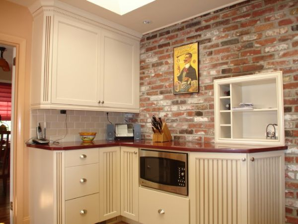 Rustic Wall also Ceramic Back Splash Plus L Shape Cabinet For Narrow Kitchen