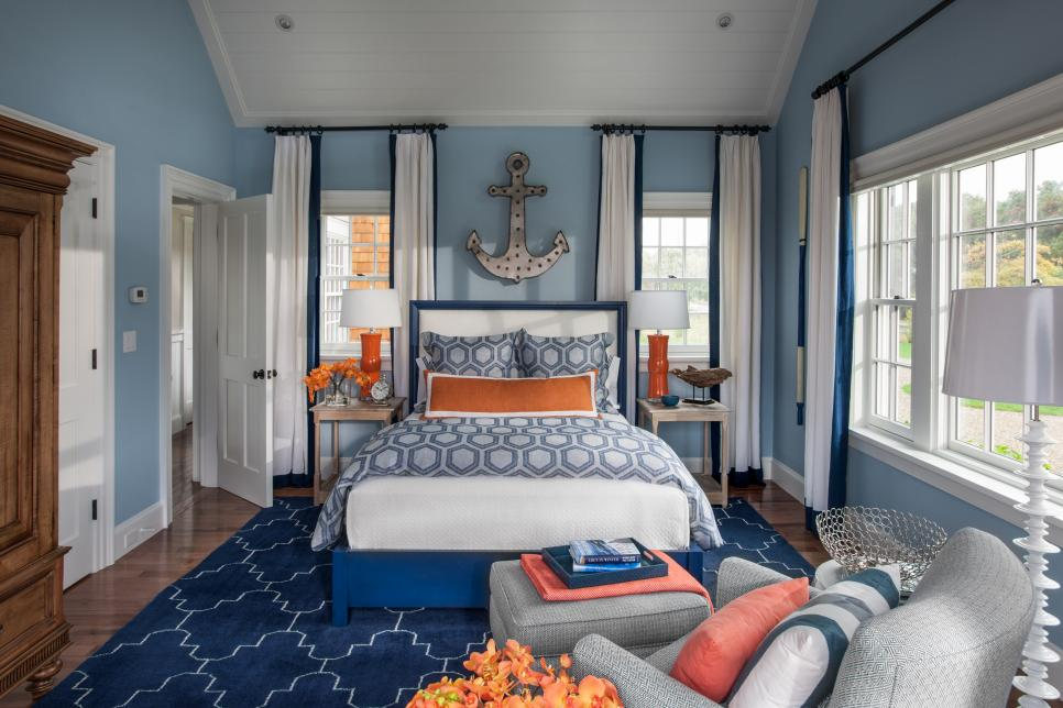 Seductive Bedroom Using Light Blue Wall Also Bed Plus Rug