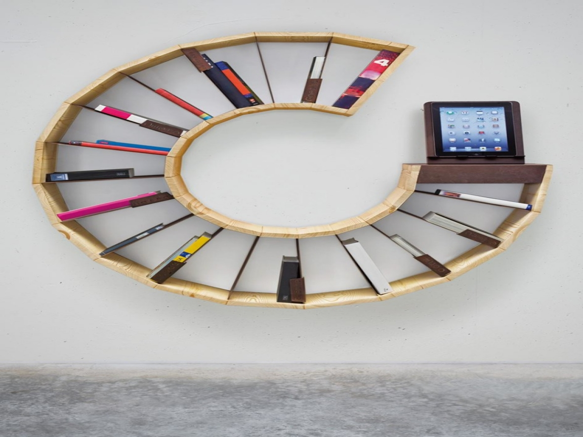 Seductive Design Of Circle Book Shelves For Great Interior Room