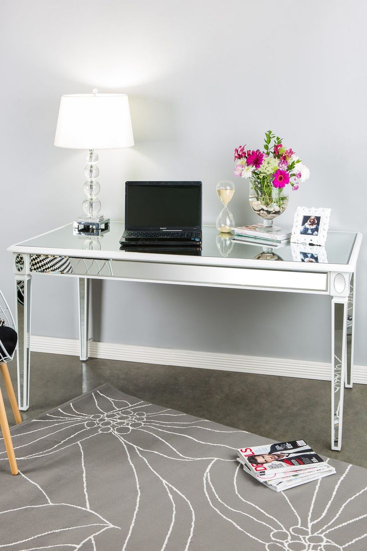 Seductive Design Of White Modern Desk Using Tempered Glass Top
