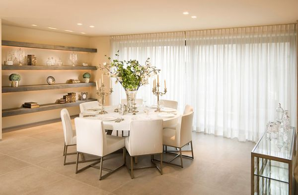 Seductive Dining Space Using Modern Table and Chair Plus Shelves