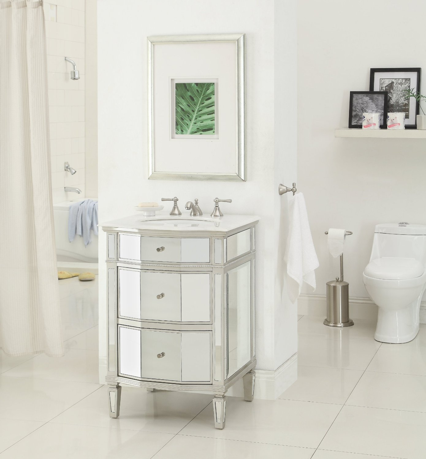 Seductive Interior With Mirrored Bathroom Vanity also Towel Hook Plus Toilet