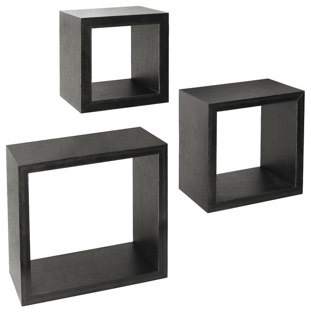 Simple Design Of Black Floating Shelves In Square Shape Style