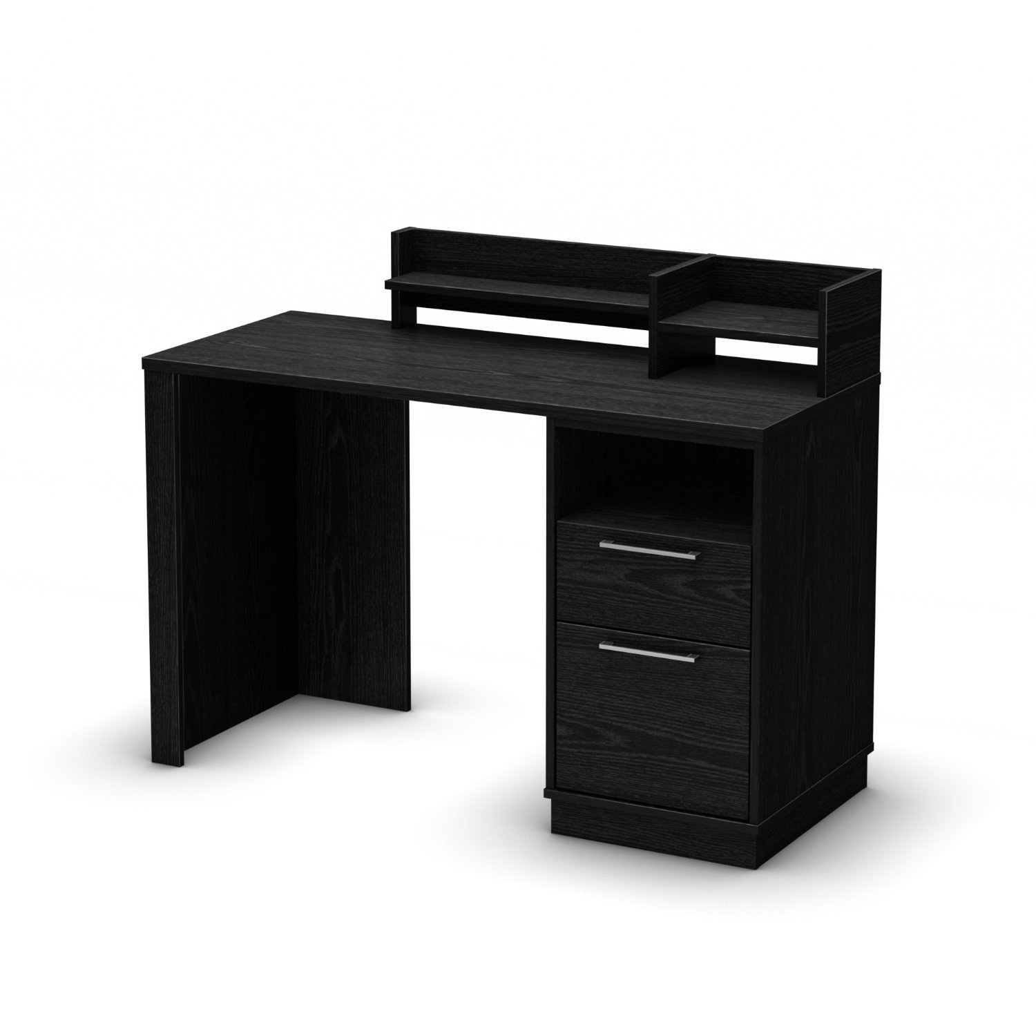 Simple Design Of The Black Desk With Drawers With So Many Drawers With Silver Knob Ideas