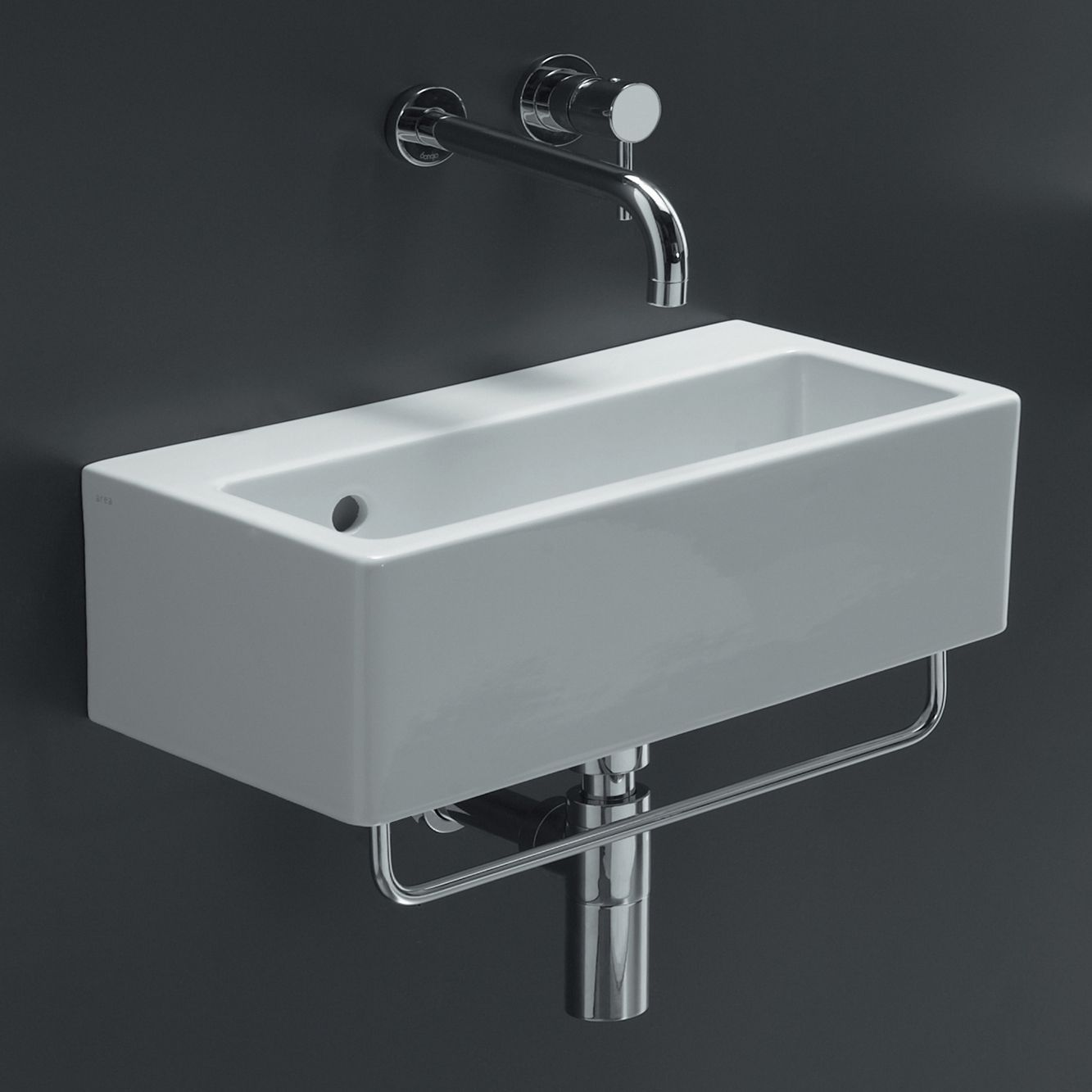 Simple Design Of The Wall Mounted Sink With Silver Faucets Ideas Put On The  Black Wall