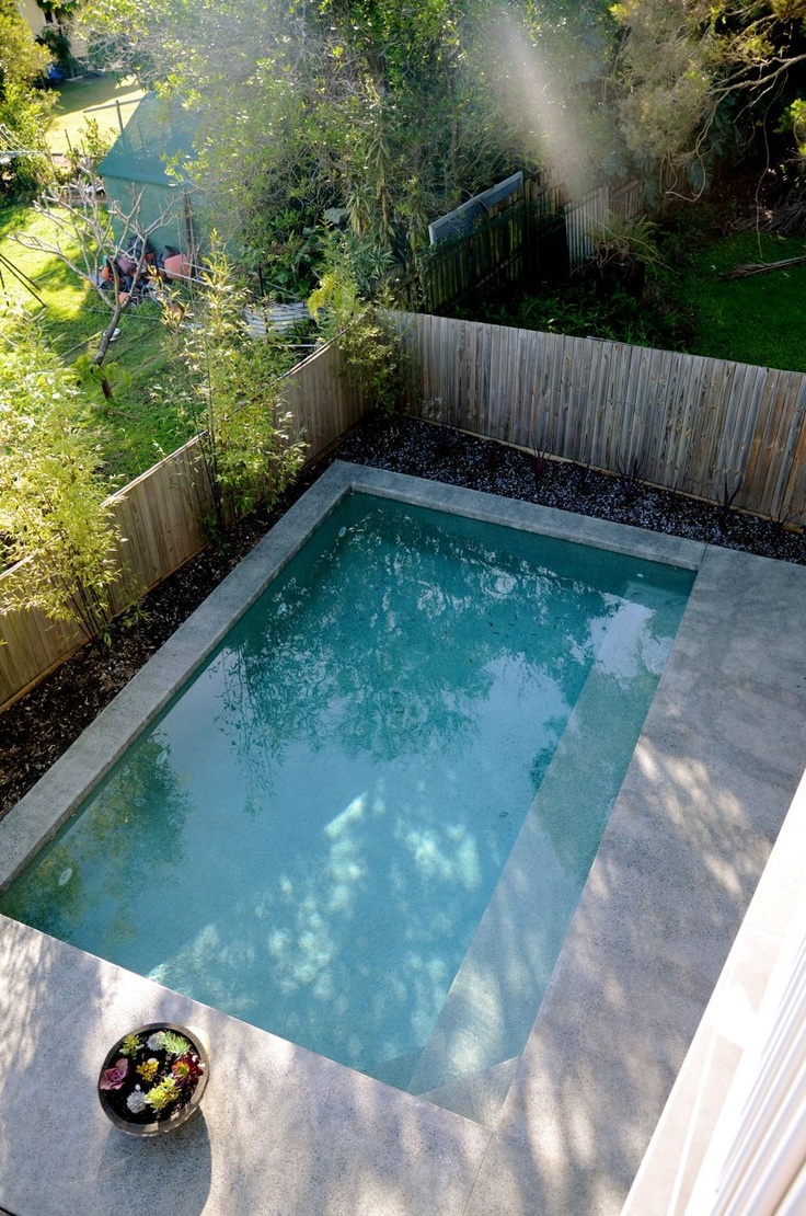 Simple Design Pool House Ideas also Wooden Fence and Concrete Deck