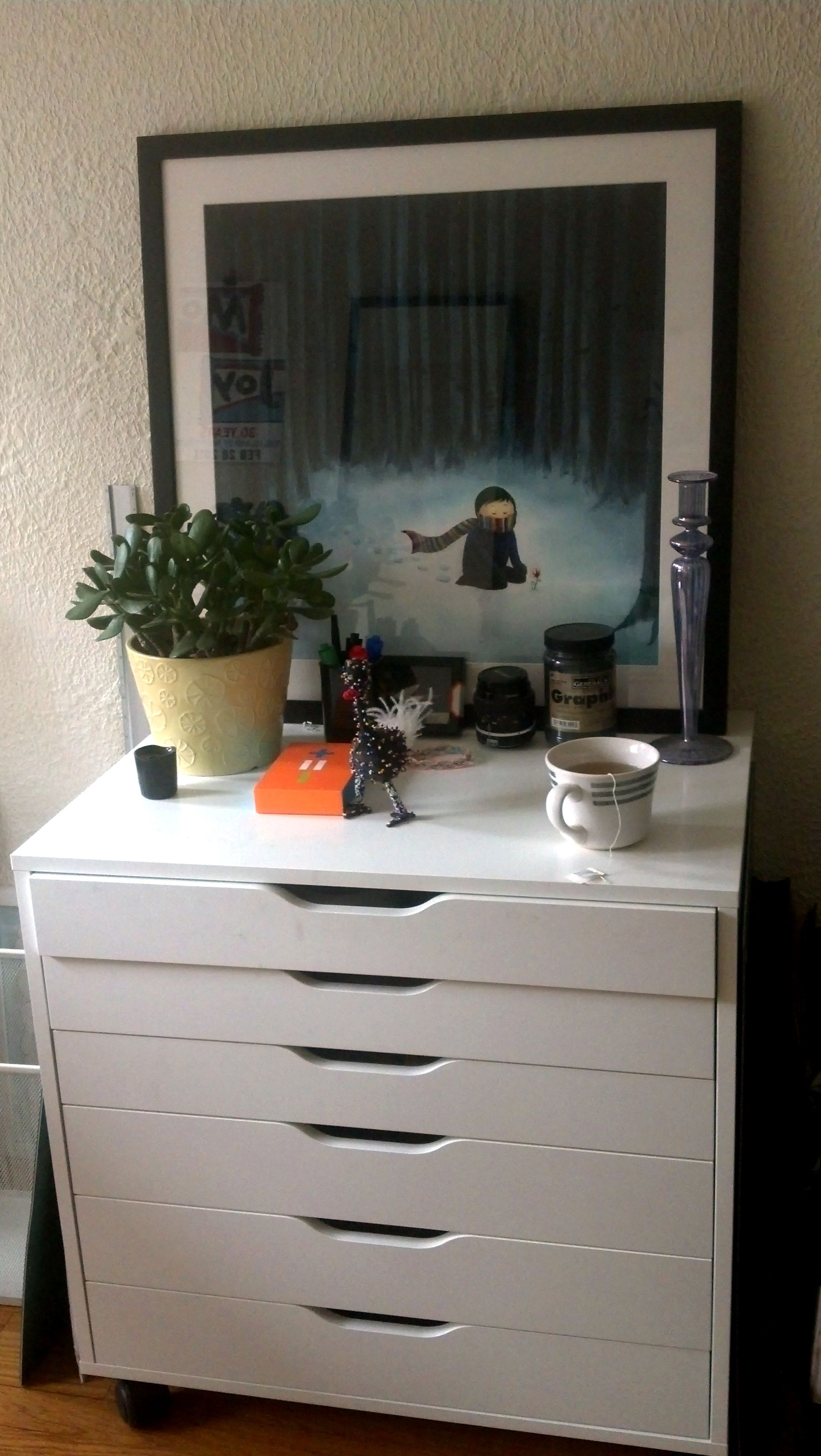 Simple Dresser Also Plant Accessory Plus Wall Decor For Decorating Office  Room