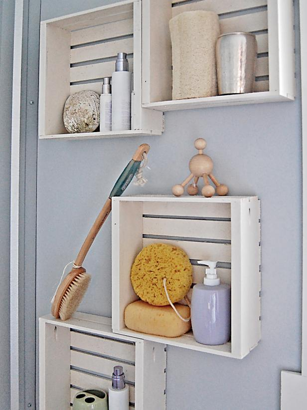 Stunning Bathroom Decor With Square Wooden Wall Shelves For Toiletries