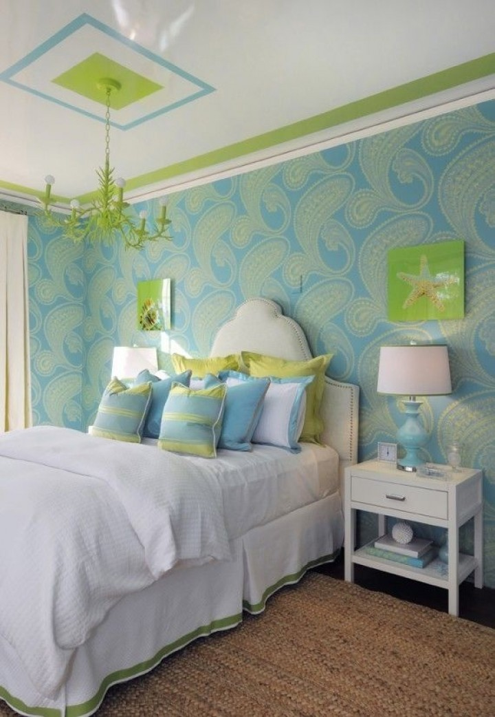 Stunning Bedroom With Blue Wall Decor also Neat Green Chandelier
