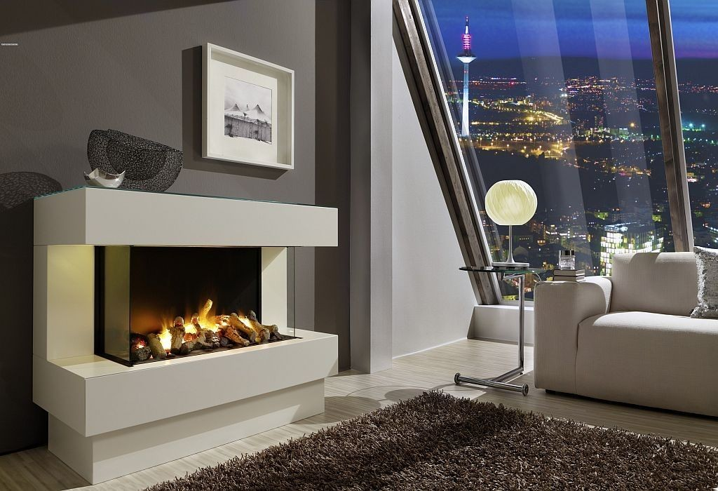 Stunning Design Of The Electric Fireplace With White Fireplace Mantels Ideas Added With Grey Wall And Grey Rugs Ideas