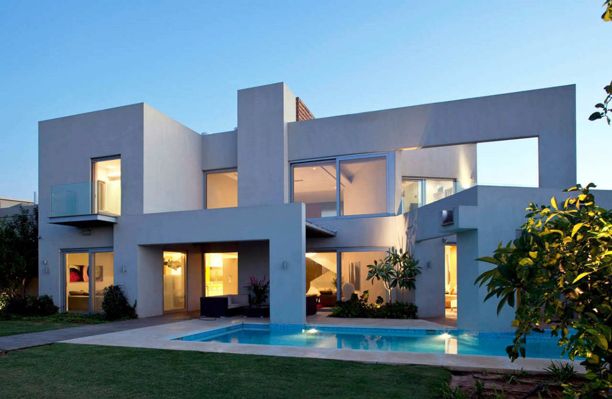 Stunning Design Of The Exterior Home Design Styles With White Wall Ideas Added With Glass Windows Ideas And Pool Ideas