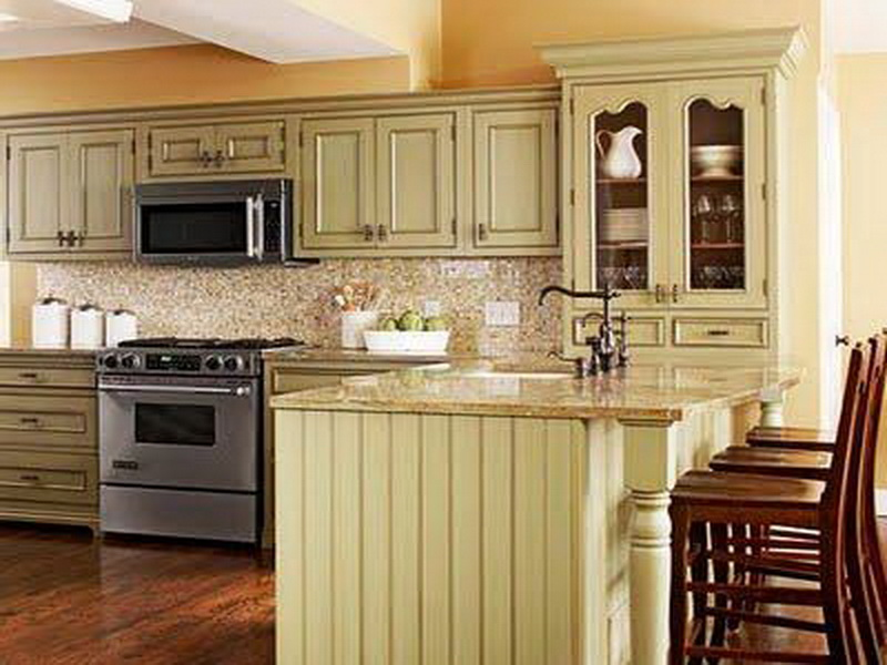 Charmant Stunning Design Of The Green Kitchen With Brown Wooden Floor Added With Green  Cabinets And Brown