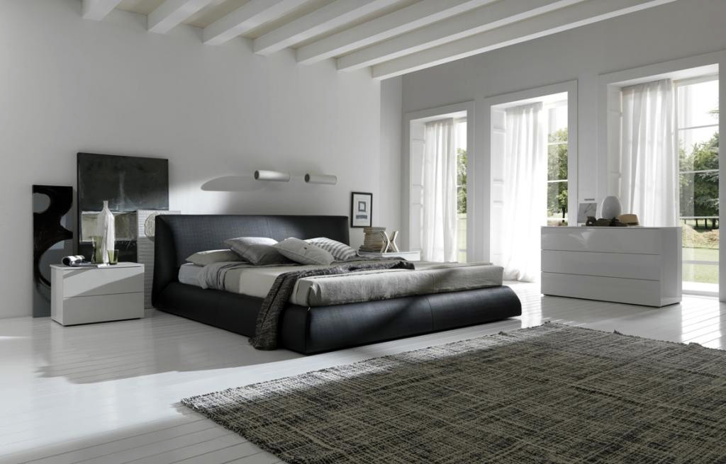 Stunning Design Of The Men Bedroom Ideas Added With Grey Rugs And White Floor Ideas Added With Black Bed Ideas