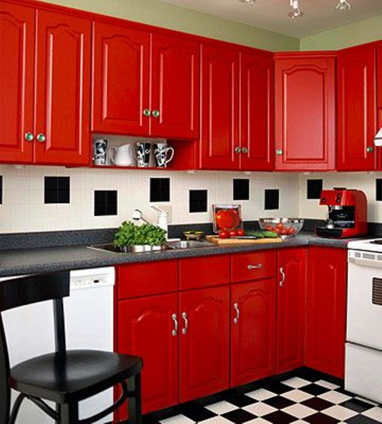Stunning Design Of The Red Kitchen Cabinets With Whtie And Black Floor Ideas Added With Red Cabinets And Black And White Backsplash
